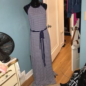 Bebe navy white straps back striped maxi dress